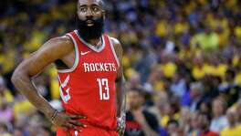 Houston Rockets guard James Harden (13) pauses on the court during a break in the action against the Golden State Warriors during the second half of Game 3 of the Western Conference Finals at Oracle Arena Sunday, May 20, 2018 in Oakland.