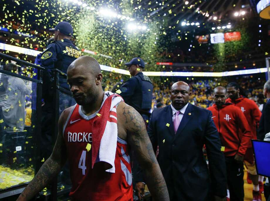 It was a far different story for P.J. Tucker and the Rockets in Game 3, as they suffered the most lopsided playoff loss in franchise history en route to falling behind the Warriors 2-1 in their Western Conference finals series. Photo: Michael Ciaglo, Houston Chronicle / Michael Ciaglo