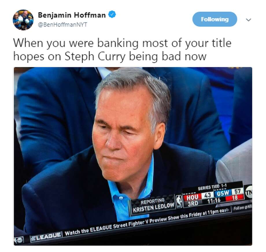 Source: TwitterBrowse through the photos for more memes from Rockets-Warriors Game 3. Photo: Source: Twitter