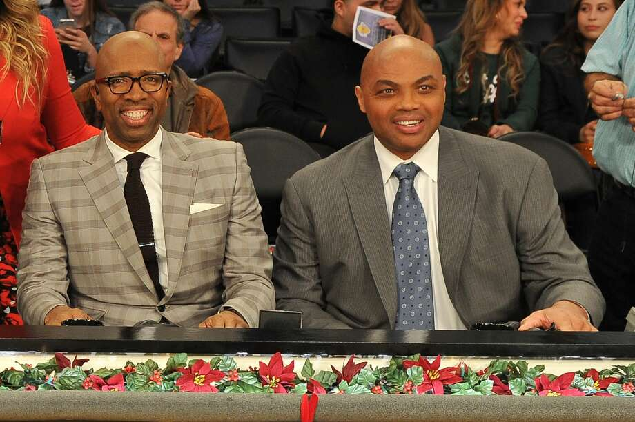 Former Rockets Kenny Smith (left) and Charles Barkley had time to work on their comedic material given the blowout nature of the Rockets' Game 3 loss at Golden State. Photo: Allen Berezovsky/Getty Images