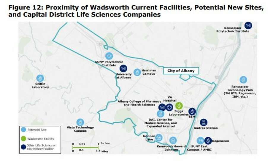 A map from the Deloitte report on the new Wadsworth Center shows the potential locations and their proximity to biotech assets in the region. Photo: Deloitte