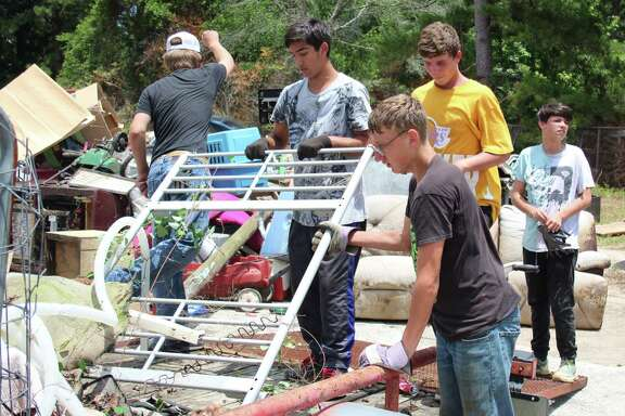 Student volunteers from Shepherd ISD unload trash to be collected as part of Trash Bash Saturday on May 19. The event is part of the City of Shepherd's Cleanup Awareness Project, which was done in conjunction with the Pct. 2 Constable's Office.