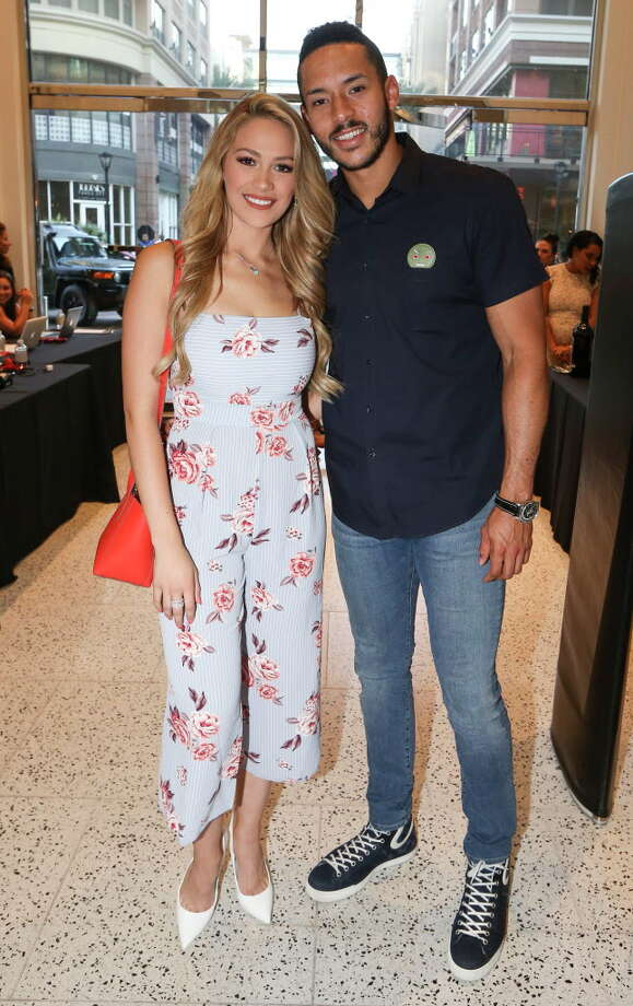 """Ex-Laredo beauty queen Daniella Rodriguez is set to marry Houston Astros outfielder Carlos Correa in December 2019.   Houston Astros player Carlos Correa and fiancé Daniella Rodriguez pose for a photograph at """"Team Up for Kids and K9s"""" benefit. >>> Click through to meet Texas USA 2016 Daniella Rodriguez. Photo: Yi-Chin Lee, Houston Chronicle / © 2018 Houston Chronicle"""