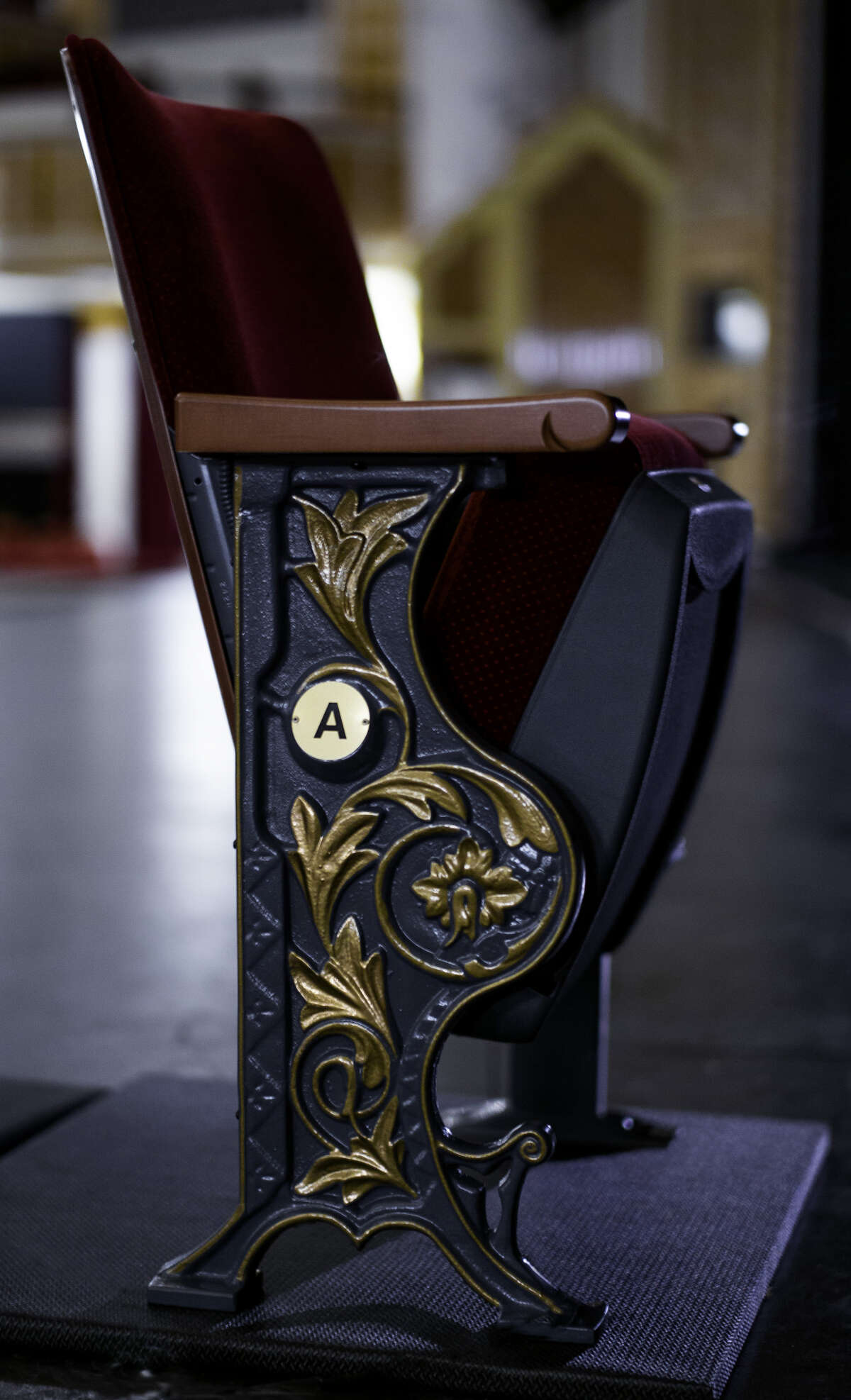 One of the new seats to be installed at Proctors in Schenectady this summer. (Photo by Richard Lovrich/Proctors.)