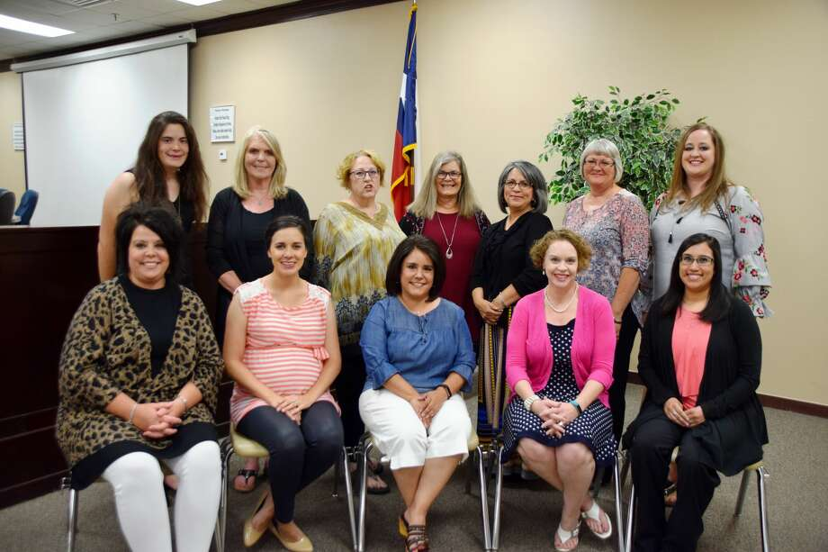 Plainview ISD teachers selected by their peers as the 2017-2018 Educators of the Year are Whitney Schafer (seated left),Coronado Middle School; Catherine Dunn, Hillcrest Elementary; Kelly Mendoza, Hillcrest Elementary; Lisa Carri, College Hill Elementary; Rita Rodriguez, Thunderbird Elementary; Olivia Stanfield (standing left), Estacado Middle School; Claudia Howell, Ash High School; Annette Coon, Ash High School; Denise Kellum, Plainview High School; Alicia Ramirez, La Mesa Elementary; Rebekah Mize, Edgemere Elementary, and Jalee Victory, Highland Elementary. Photo: Jan Seago/Plainview ISD