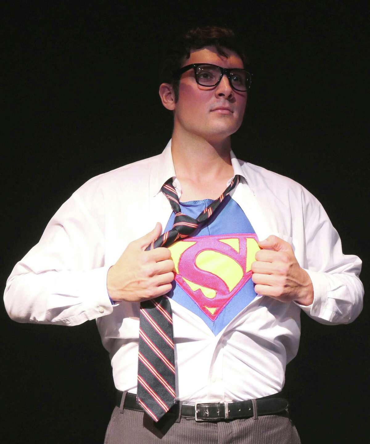 """John Schule portrays Clark Kent and Superman in """"Superman, the Musical,"""" at Curtain Call's Kweskin Theatre in Stamford, June 1-30. (But don't tell Lois Lane.)"""