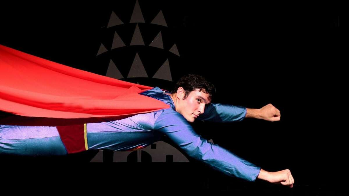"""John Schule portrays Superman in """"Superman, the Musical,"""" at Curtain Call's Kweskin Theatre in Stamford, June 1-30."""