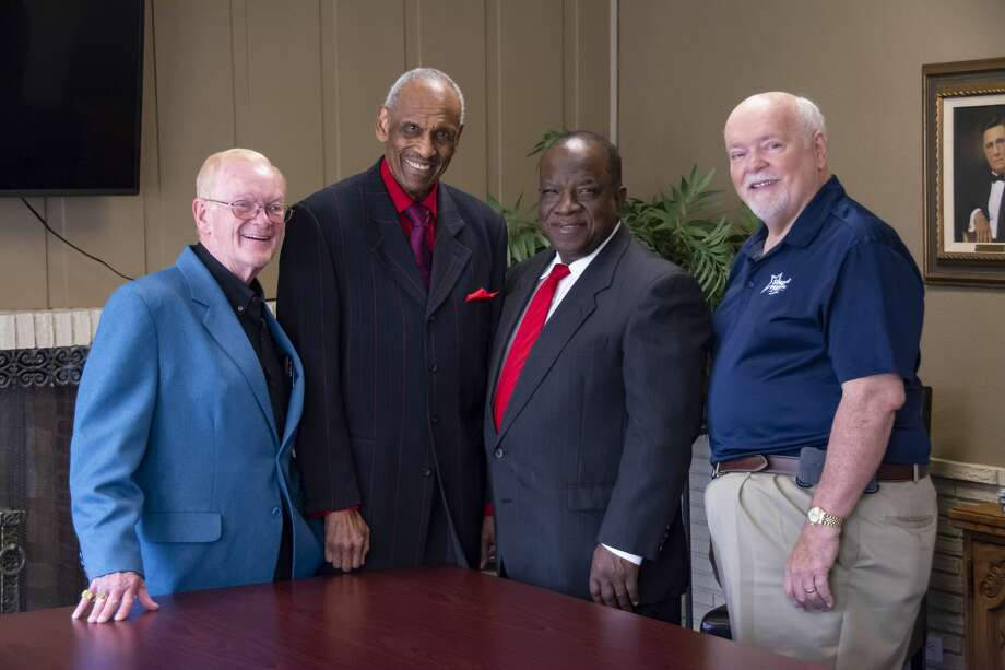 Former recipients of Silver Star Awards pose with Alfred Henderson, 2018 honoree. From left are Joe Provence, 2011 honoree; Henderson; Joe Berry, 2017; and Walter Wright, 2014. Photo: Wayland Baptist University Marketing