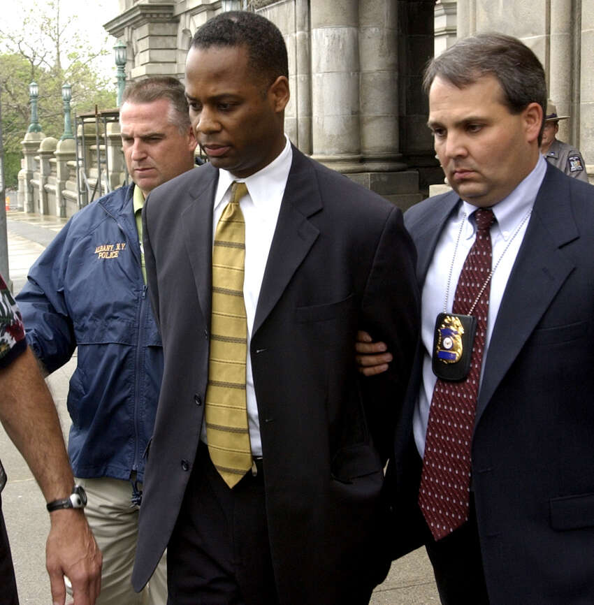 TIMES UNION STAFF PHOTO WILL WALDRON--J. Michael Boxley, Chief Council to Assembly Speaker Sheldon Silver is arrested by Albany police detectives at the Capitol on rape charges. Wednesday June 11, 2003.