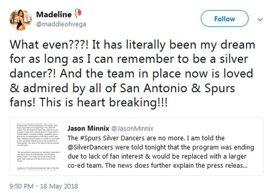 @maddieohvega: What even???! It has literally been my dream for as long as I can remember to be a silver dancer?! And the team in place now is loved & admired by all of San Antonio & Spurs fans! This is heart breaking!!! Photo: Twitter Screengrabs