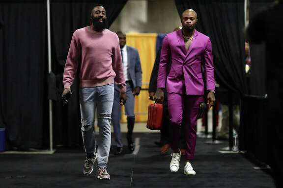 NBA FASHION: Houston Rockets v Golden State Warriors - Game ThreeOAKLAND, CA - MAY 20: James Harden #13 and PJ Tucker #4 of the Houston Rockets arrive for Game Three of the Western Conference Finals of the 2018 NBA Playoffs against the Golden State Warriors at ORACLE Arena on May 20, 2018 in Oakland, California.