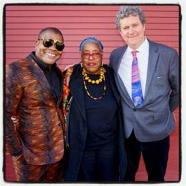 Artists Kehinde Wiley and Mildred Howard (at left) with SFAI President Gordon Knox at Fort Mason Center. May 13, 2018.