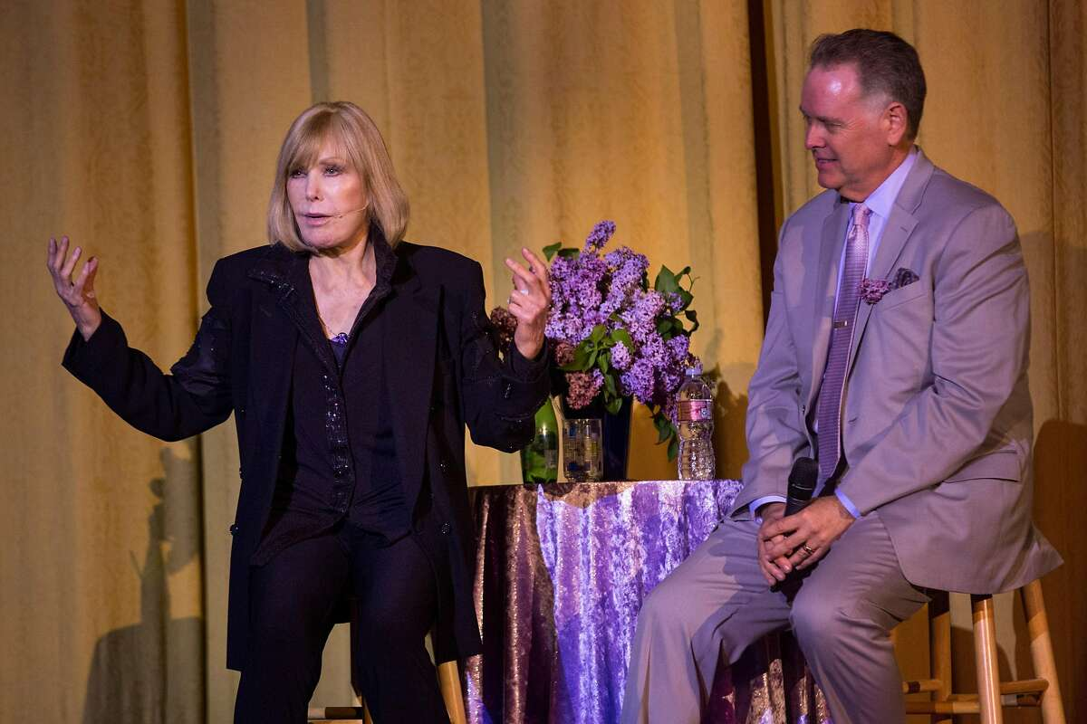 """The host, Eddie Muller interviews Kim Novak on stage during an event in her honor """"A Tribute to Living Legend Kim Novak"""" at the Castro Theater on Sunday, May 20, 2018. San Francisco Calif."""