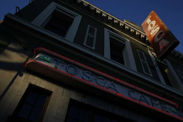 The outside of Tosca Cafe is seen as the sun sets on Sunday, May 19, 2013. Tosca Cafe in San Francisco, Calif., will be closing for a renovation and crowds gathered out the door to bid the San Francisco icon farewell on Sunday, May 19, 2013.
