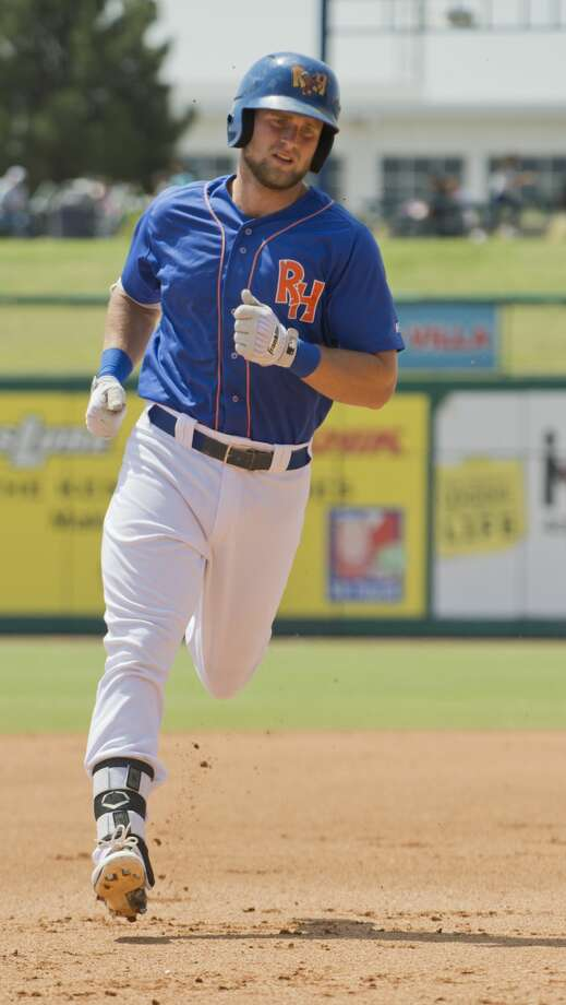 RockHounds' Seth Brown rounds the bases after a solo homerun 05/21/18 as the Hounds take on the San Antonio Missions during a day game at Security Bank Ballpark. Tim Fischer/Reporter-Telegram Photo: Tim Fischer/Midland Reporter-Telegram