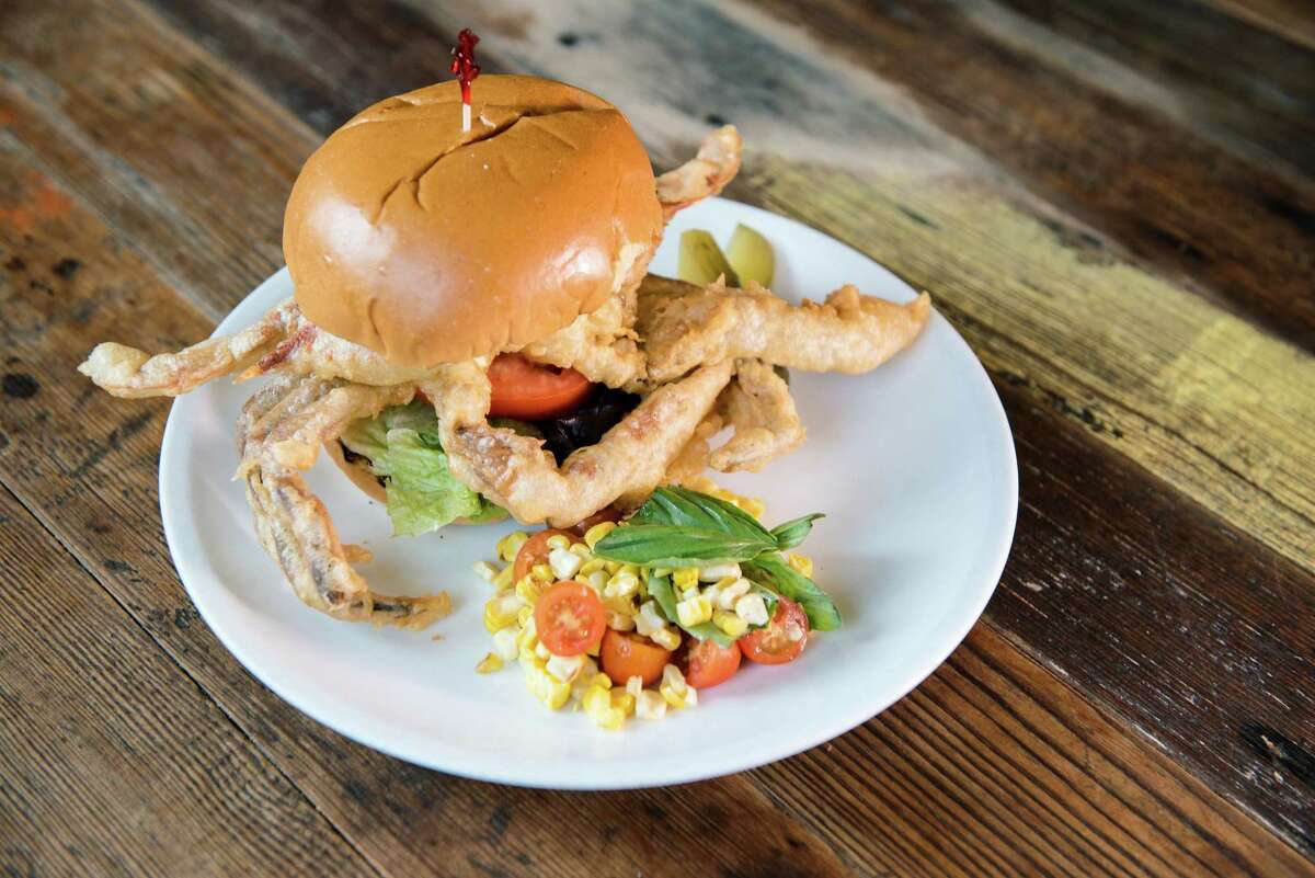 Eight Row Flint's Tuesday Night Outdoor Cooking series features burgers from give cooks from Coltivare. The series (May 1, 8, 15, 22 and June 5) concludes with Coltivare executive chef Ryan Pera on June 12. Shown: Carolina-style soft shell crab sandwich by Pera to be served June 12.