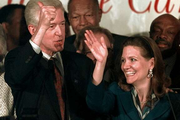 California Democratic gubernatorial candidate Lt. Gov. Gray Davis and  his wife Sharon wave to supporters from the stage in a downtown Los Angeles hotel, Tuesday, June 2, 1998. Standing behind Davis are former Los Angeles Mayor Tom Bradley, center,  and San Francisco Mayor Willie Brown, far right. Davis, outspent by millions of dollars and last in the polls two-and-one-half months ago, surged past Jane Harman and Al Checchi to capture the Democratic nomination for governor and set up a general electioncontest against Republican Attorney General Dan Lungren. (AP Photo/Kevork Djansezian)