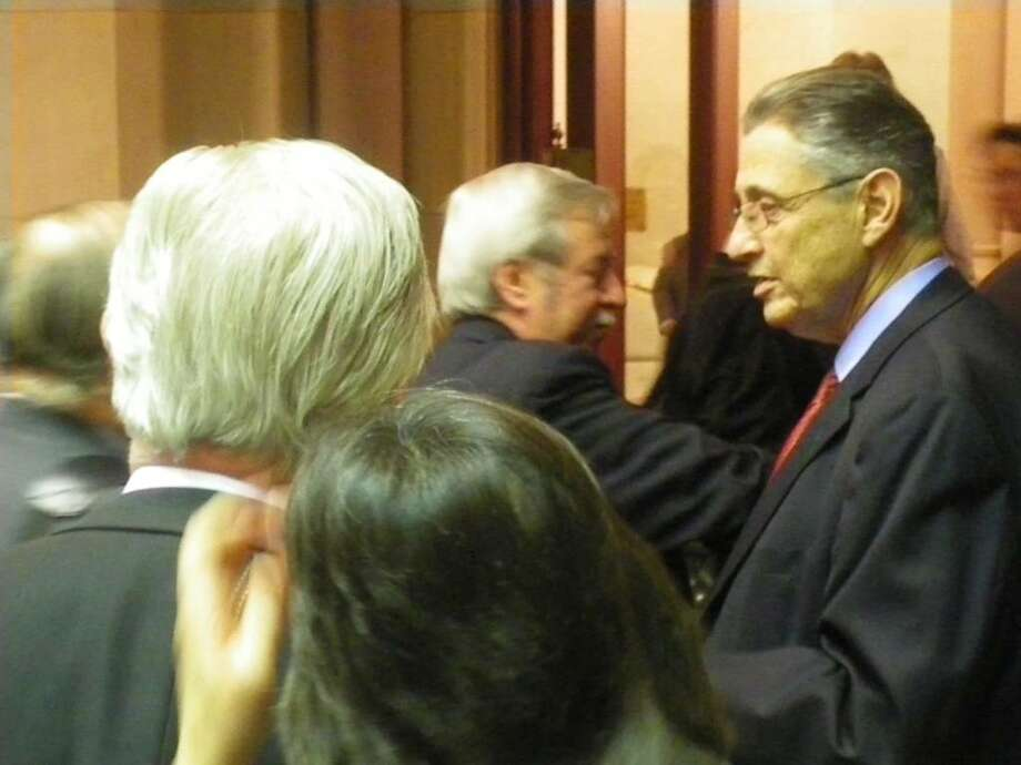 Assembly Speaker Sheldon Silver says farewell to members of the Assembly after session adjourned late Thursday. A return date is uncertain. (Jimmy Vielkind/Times Union)
