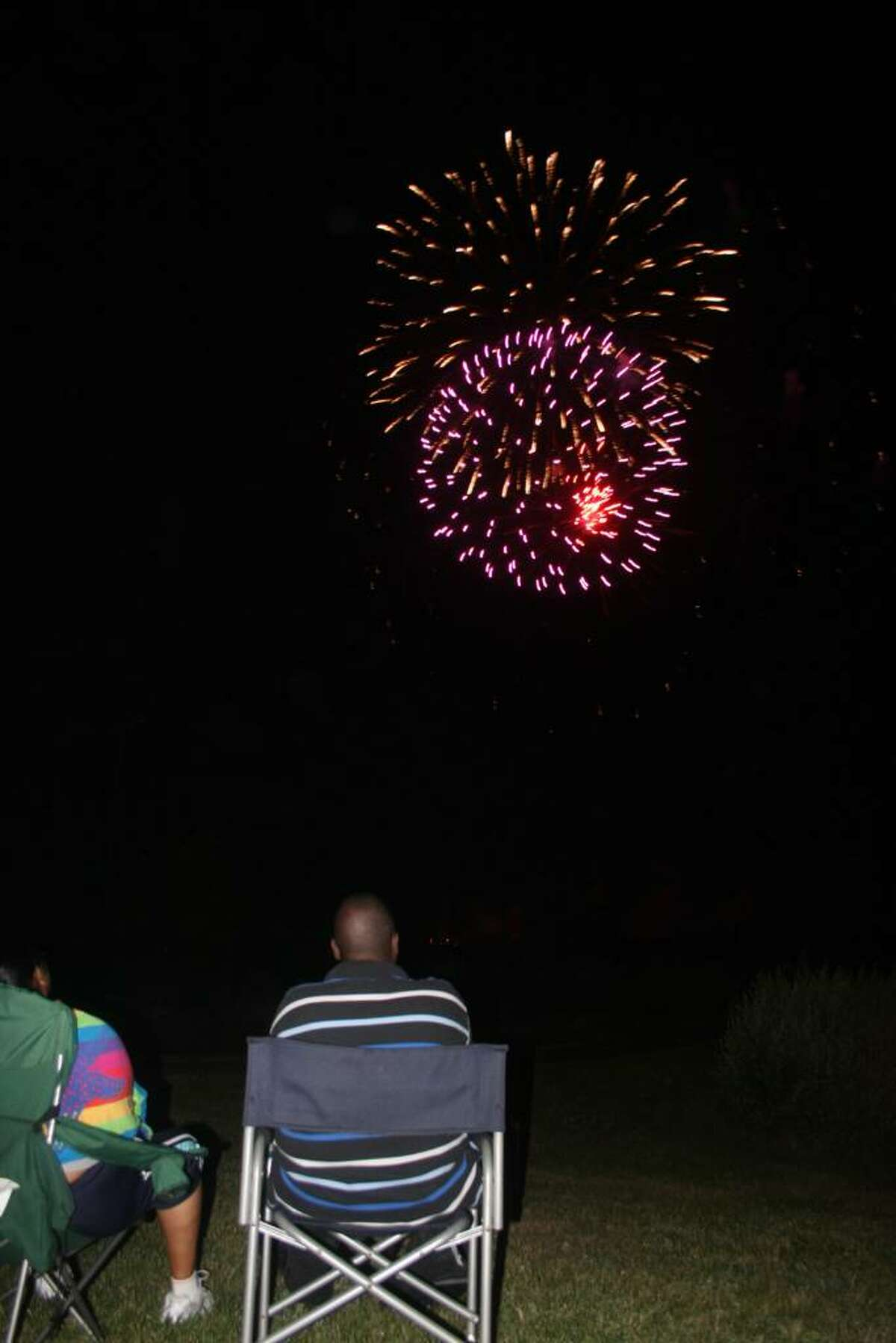 Stratford residents celebrated the Fourth of July at Short Beach Saturday night with festivities for the family followed by a fireworks display.