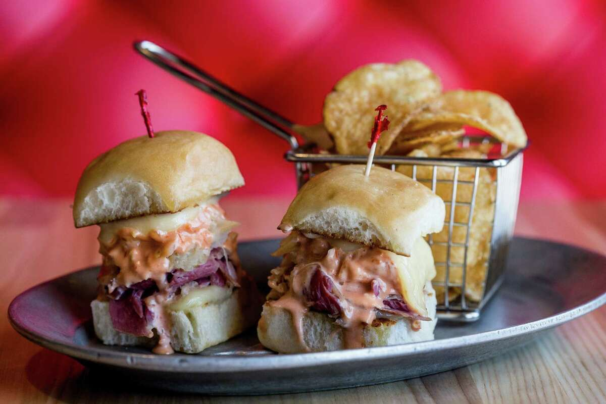 Mini Reubens with house-made chips is on the new bar menu at Katz's.