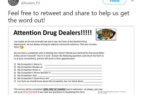 Are you a drug dealer who is having clients stolen by rival dealers? The Rowlett Police Department is encouraging drug dealers to report their competitors.  Image source:  Twitter