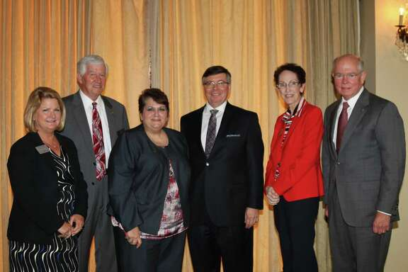 Pictured at the 2017 State of Higher Education luncheon from left are Keri Schmidt, Randall Wooten, Dr. Madeline Burillo, Jim Rice, Betty McCrohan and Robert McPherson.