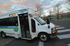 A Norwalk Transit District Shuttle in January 2017 in Norwalk, Conn. Under a pilot program with Ford Motor, the city of Norwalk plans to test an Uber-like app that would allow bus drivers to receive alerts that riders are ready to be picked up.