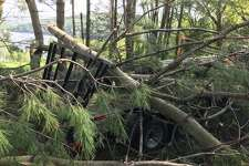 Downed trees last week at Squantz Pond State Park crushing one of the trailers.