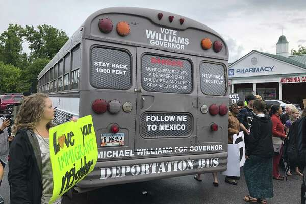 "Georgia gubernatorial candidate Michael Williams, a Republican, is touring the state in a ""deportation bus."" Trump has created a climate in which such offensive acts get ever closer to mainstream acceptance, either outright or by refusing to condemn them."