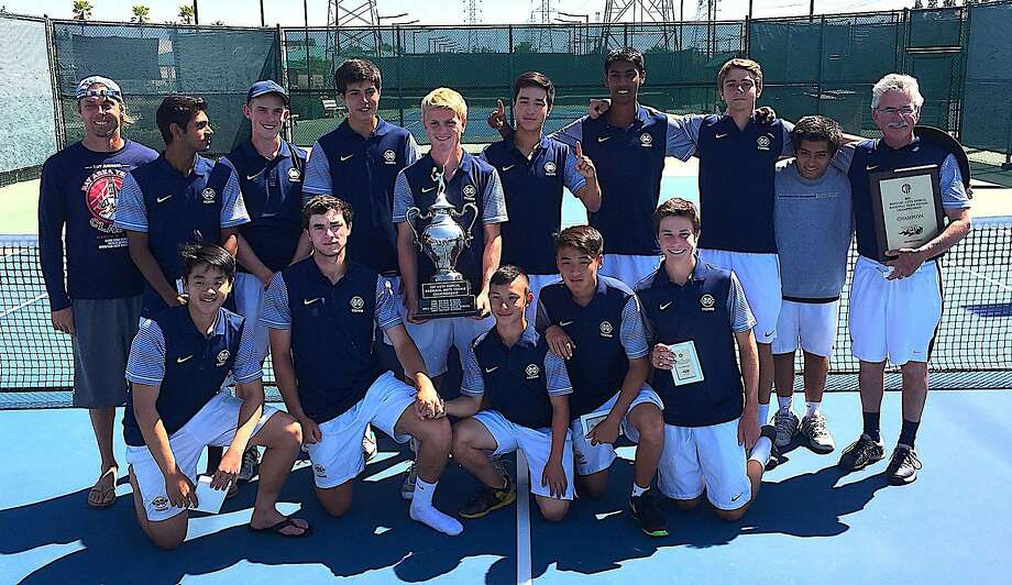 The boys tennis team at Menlo School in Atherton has won a lot of titles over the years, but it had never gone undefeated before its 29-0 run this season. The finishing touch came in the NorCal final with the Knights beating Bellarmine 6-1 in Folsom. Photo: Menlo School