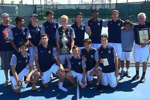 Members of the Menlo-Atherton boys tennis team pose after�winning the Northern California championship to finish their season 29-0.