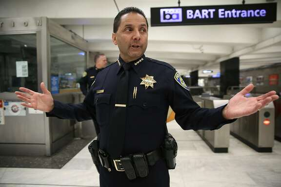 BART Police Chief Carlos Rojas talks about first quarter crime numbers being released as we walk around Powell St. Bart station on Monday, May 21, 2018 in San Francisco, Calif.