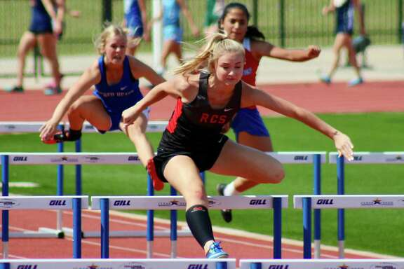 Rosehill Christian's Cambring Drake competing in the hurdles at the TAPPS 3A Track and Field State meet, May 4-5 at Midway HS. Drake medaled in five events.
