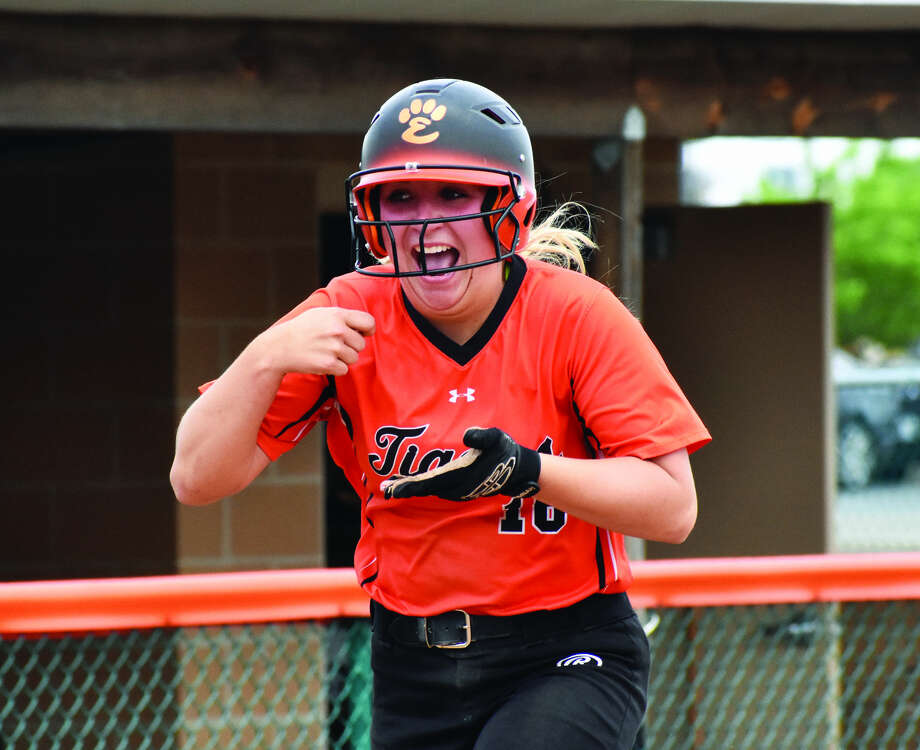 EHS second baseman Emma Lewis celebrates a home run during the regular season.