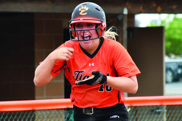 EHS second baseman Emma Lewis celebrates a home run during the regular season.