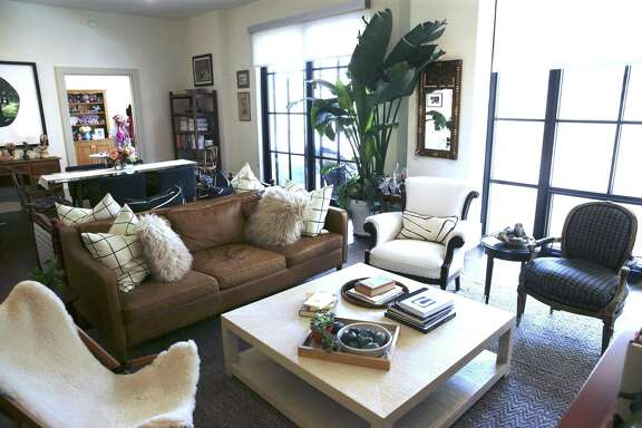 The living room of Elizabeth Fauerso and Chris Senn's apartment at the Cellars at The Pearl.