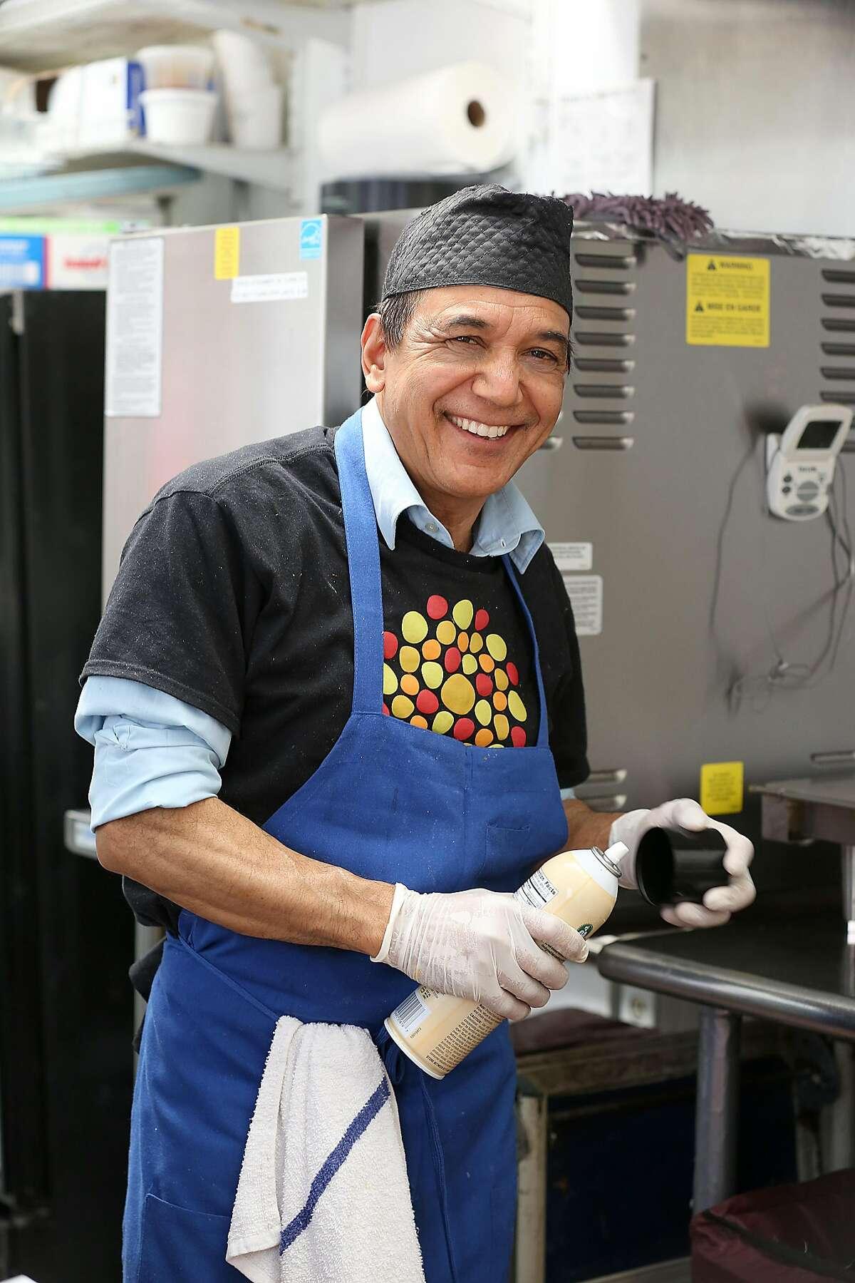 Crew member Bhimsen Thapa Chhetri works at Bini's Kitchen on Market St. on Friday, May 11, 2018 in San Francisco, Calif.