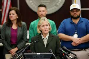 Dr. Leigh Wall talks during a press conference in the Santa Fe ISD building Monday, May 21, 2018, in Santa Fe.