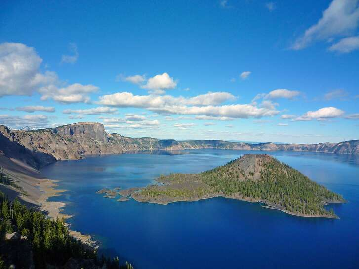 Crater Lake with Wizard Island in the summer.