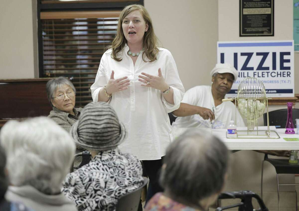 Seventh congressional district Democratic primary runoff candidate Lizzie Pannill Fletcher, introduces herself at the Bellerive Senior Living Facility during bingo on Friday, April 13, 2018, in Houston. Pannill Fletcher is in a runnoff with democratic candidate Laura Moser. ( Elizabeth Conley / Houston Chronicle )