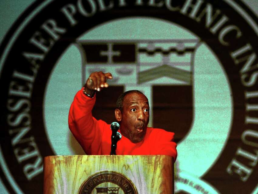 Bill Cosby addresses graduates during Rensselaer Polytechnic Institute's commencement exercise at the Times Union Center on Saturday, May 12, 2001, in Albany , N.Y. (Michael P. Farrell/Times Union archive)
