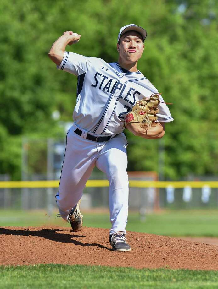Starting Pitcher Chad Knight (27) of the Staples Wreckers delivers a pitch during a game against the Greenwich Cardinals at Staples High School on Monday May 21, 2018, in Westport, Connecticut. Photo: Gregory Vasil / For Hearst Connecticut Media / Connecticut Post Freelance