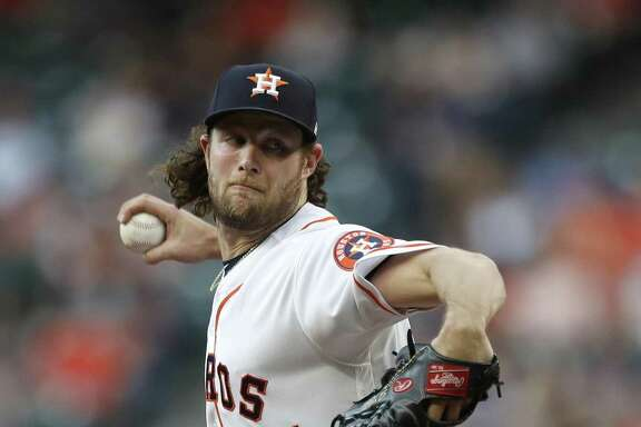 In Brandon Crawford's 18 plate appearances against him, Astros righty Gerrit Cole (45) has allowed four hits and tallied five K's.