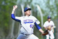 Danbury pitcher Ryan Solimine tosseas against St. Joseph in their FCIAC quarterfinal at Danbury on Monday.