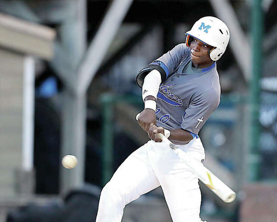 Marquette's Kaleb Ware was 2-for-3 with an RBI and a run scored in Monday's 12-7 eight-inning loss to Bellevile Althoff in the championship game of the Wesclin 1A Regional, played Monday in O'Fallon. He is shown in and earlier win over Althoff. Photo:       Billy Hurst | Telegraph File Photo