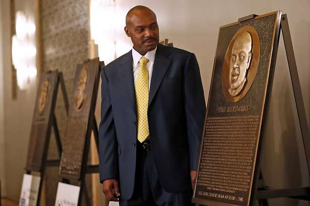 2018 Bay Area Sports Hall of Hame inductee Tim Hardaway looks at his plaque during press conference at Westin St. Francis in San Francisco, CA on Monday, May 21, 2018.