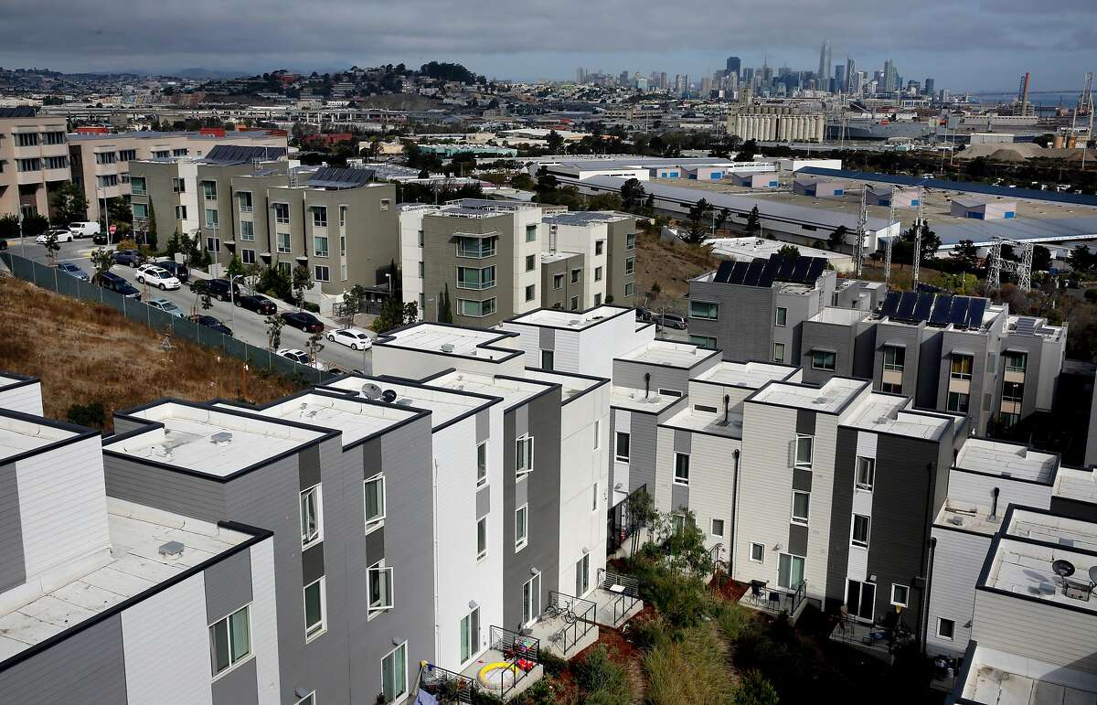 Previously completed phases of the Hunter's View housing complex as California Governor Jerry Brown signed a package of affordable housing bills, on Fri. Sept. 29, 2017, at the Hunter's View affordable housing community, in San Francisco, Ca.