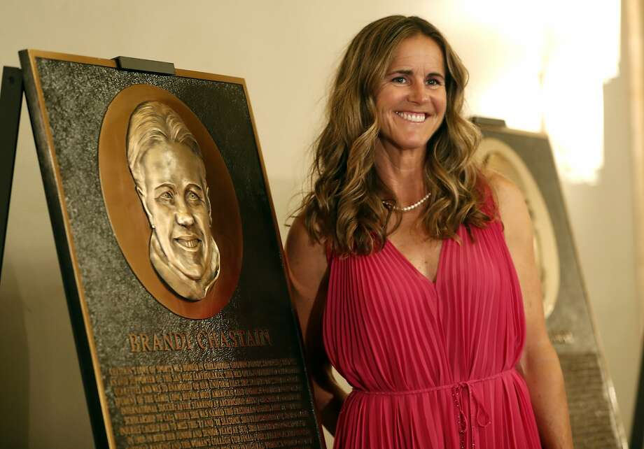 BASHOF inductee Brandi Chastain poses by her plaque. The rendering has been the subject of scorn on social media. Photo: Scott Strazzante / The Chronicle