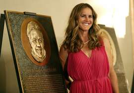 2018 Bay Area Sports Hall of Hame inductee Brandi Chastain poses by her plaque during press conference at Westin St. Francis in San Francisco, CA on Monday, May 21, 2018.