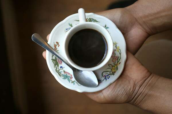 The first cup of coffee served at Ethiopian Cafe Anfil is referred to as abol on Thursday, May 17, 2018 in Oakland, Calif.